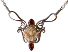 Tagua Lotus and Amber Necklace