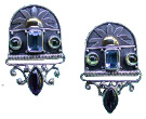 Amethyst, Swiss Blue Topaz with Peridot Post Earrings with Touch Of Gold
