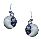 Tagua Moon, Amethyst and Opal Earrings