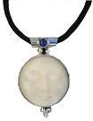 Pendant with Tagua Sun and Lapis