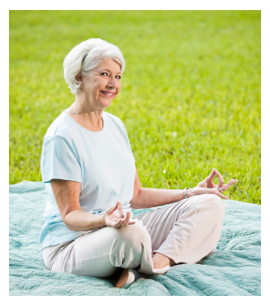 Elderly woman does yoga