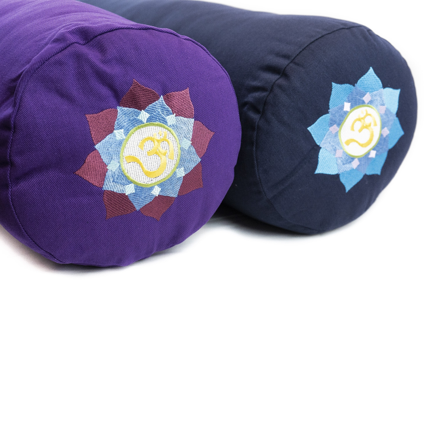 Embroidered Round Supportive Cotton Yoga Bolster