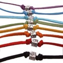 Sterling Silver Om (Aum) Anklet / Bracelet on Suede Leather Cord - Choice of Color