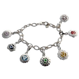 Seven Chakras Charm Bracelet Silver, Gold or Combo