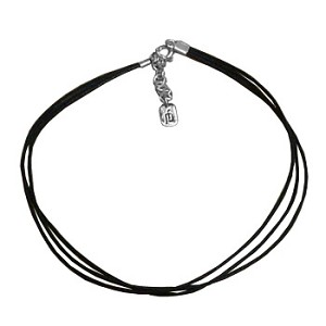 3-String Black Rope Bracelet with Sterling Silver Fastener
