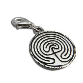 Charmas Sterling Silver Labyrinth Charm with Spring Clasp
