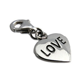 Charmas Sterling Silver Love Heart Charm with Spring Clasp