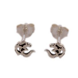 Sterling Silver OM (Aum) Classic Stud Earrings