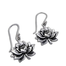Water Lily Earrings Sterling Silver