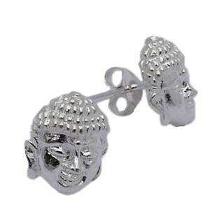 Buddha Face Stud Earrings - Sterling Silver
