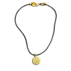 Om Mani Padme Hum Buddha Rubber Necklace Recycled Brass