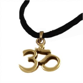18k Gold Vermeil Om (Aum) Pendant on 36'' Black Ultrasuede Necklace