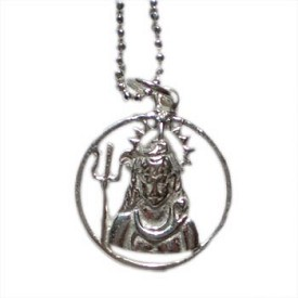 Shiva, Hindu Deity Pendant Necklace on 16'' Chain - Sterling Silver
