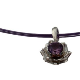 Sterling Silver Lotus Flower Necklace with Amethyst Gemstone