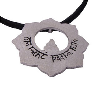 Buddhist <i>Om Mani Padme Hum</i> Lotus Flower Sterling Silver Pendant on 16'' Black Cotton Necklace