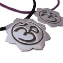Sterling Silver Om (Aum) Lotus Pendant on 16'' Soft Cotton Necklace (Black or Purple)