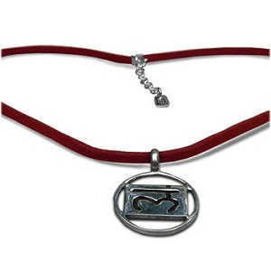"Chakra Pendant in Sterling Silver with 17"" Ultra Suede Leather Necklace"