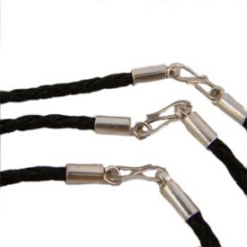 Black Leather Rope Necklace with Sterling Silver Clasp