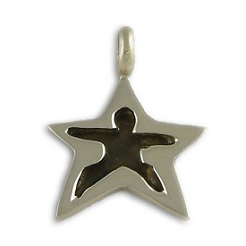 Yoga Pose Sterling Silver Star Pendant - Warrior Two