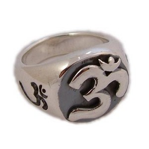 Om (Aum) Sterling Silver Signet Ring (Size 6-10)