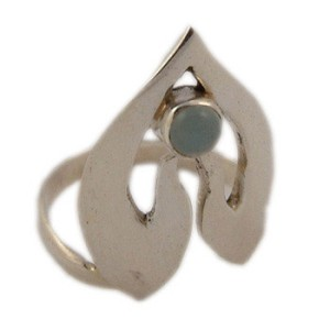Sterling Silver Namaste Ring with Blue Chalcedony Gemstone