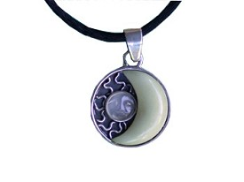 Tagua and Carved  Moonstone Pendant