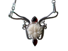 Tagua and Garnet Necklace