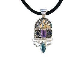 Amethyst, Lolite and London Blue Topaz Pendant with Touch Of Gold