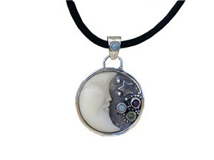 Tagua Nut Moon Pendant with Opal At The Top, Opal, Peridot and Amethyst
