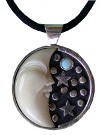 Tagua Moon and Opal Pendant (X-Large Size)