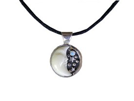 Pendant with Tagua Moon and Opal (Medium Size)