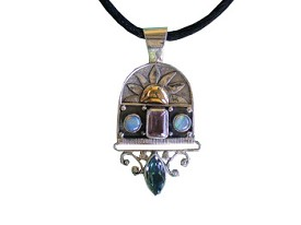 Amethyst, Swiss Blue Topaz and Opal Pendant with Touch Of Gold