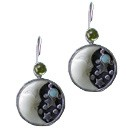 Tagua Nut Small 1/2 Moon with Stars Peridot and Opal Pair Of Earrings