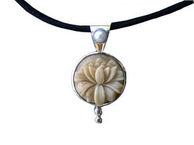 Tagua Lotus with Pearl Pendant (Medium Size)