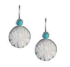 Tagua Lotus and Turquoise Earrings