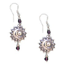 Sun and Moon Earrings with Amethyst