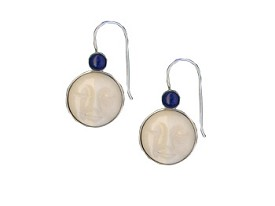 Tagua Sun and Lapis Earrings